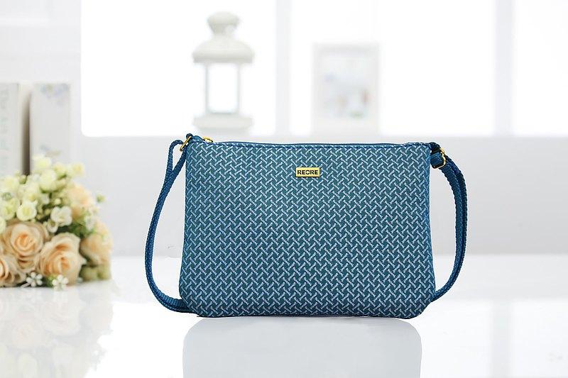 斜背包 防潑水 平織緹花 小蝙織藍 散步包
