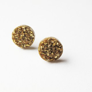 Rosy Garden golden rocks chip resin earrings