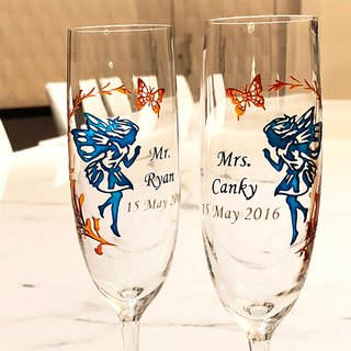My Crystal Champagne Glasses - Fairy ( including engraved names & date )