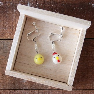 Pork chickens walking fun - with chicken earrings - ear clip hanging