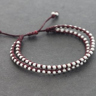 Couple Bracelets Double Strand Burgundy Friendship Knotted