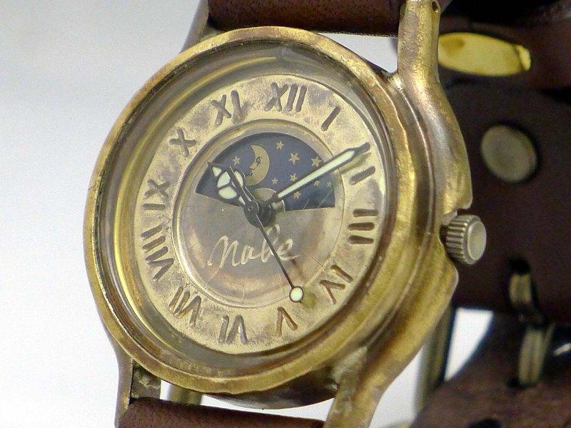 手工手錶HandCraftWatch S-WATCH2-BS&M男士黃銅太陽與月亮羅馬數字207S&M BR