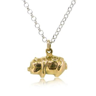 18K Gold Piggy Bank Shaped Pendant (length 13mm)  w/ 18 inces Silver Necklace