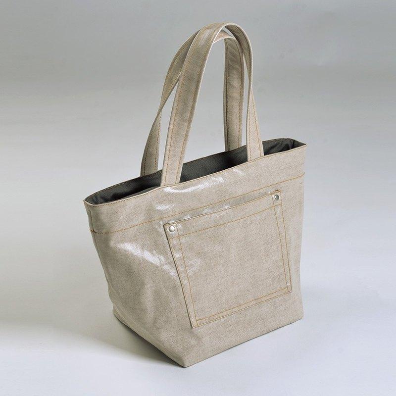 外貼口袋-防水手提托特包-卡其