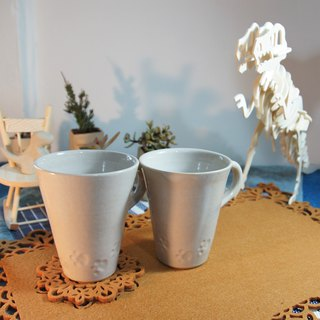Milky white cat paw prints, cups, coffee cups, cups, cups - capacity about 240ml