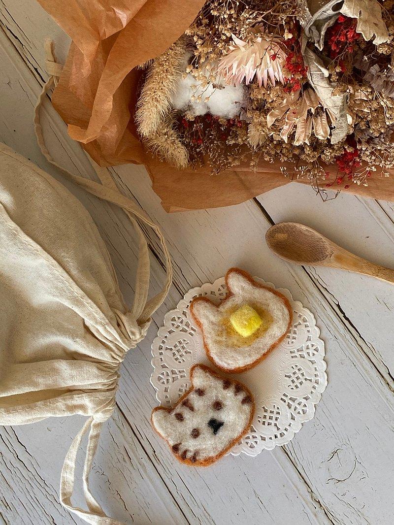 貓吐司羊毛氈束口袋 材料包