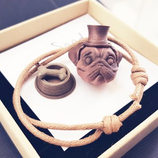 3D Print ~  Pugs (Medium Size Charm) & Dog Dish with wax coated string