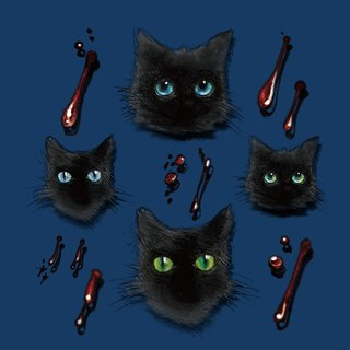 ✡ mark poetry - little black cat and little bite marks 2 color version ✡ illustrations tattoo stickers vampire vampire tattoo stickers