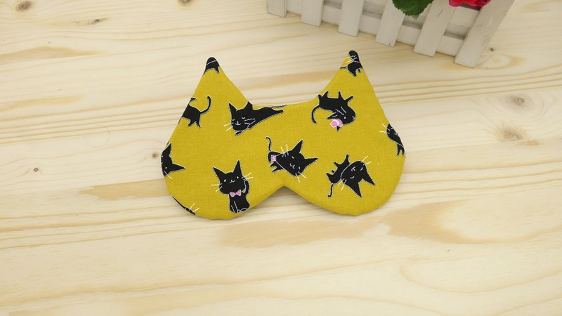 Mustard yellow cat sleep goggles attached bag sleeping mask*SK*