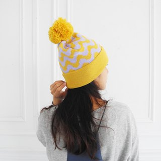 studio chiia Knit Beanie - Wave - Yellow