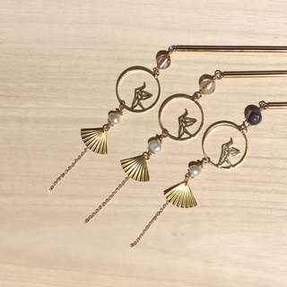 【Sang Sang】【玥翎】Qian Zhihe. A small fan of wind and glass. Natural pearl. Kimono hair accessories.