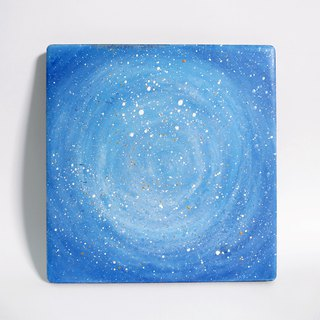 Starry Hand Painted Coaster / Cosmic Blue