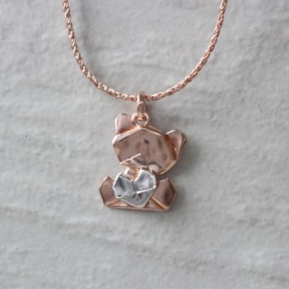 Bear My Love - 925 Silver Origami Bear My Love Necklace (Rose Gold/Gloss)