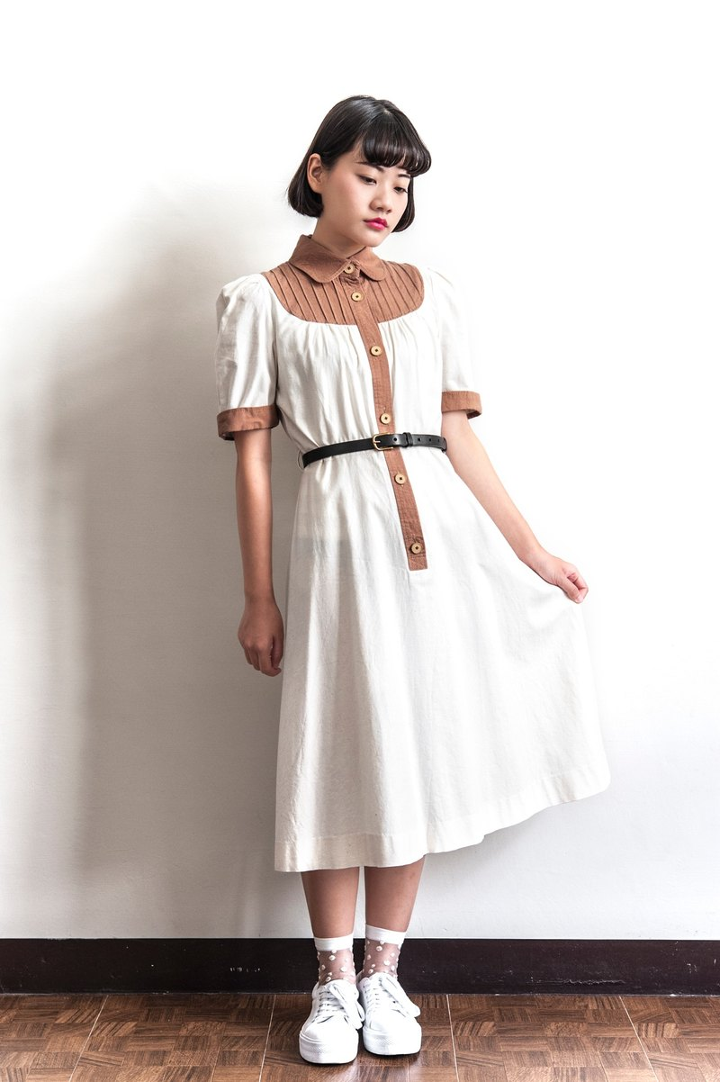 Vintage cotton stitching ancient short - sleeved dress