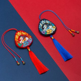 Peaceful horse DIY hand made material package embroidery Chinese style new Chinese red and blue tassel car pendant gift