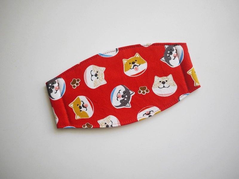 手作訂製=日常必備小物=手作口罩=微笑柴犬=紅