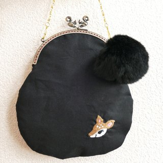 Embroidery shoulder mouthfully with bambi fur print fur charm