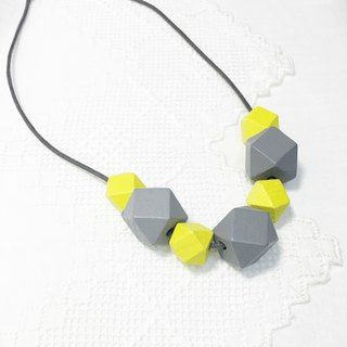 Grey Yellow wooden bead necklace Grey & Yellow Wood Beads Necklace (N1509)