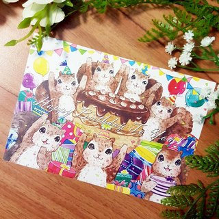 Squirrel friends birthday party postcards