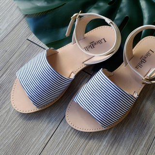 [Greek sky] striped sandals - MIT full leather Taiwan handmade shoes