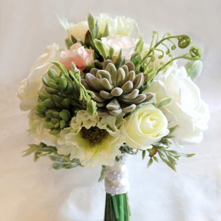 Hand tied bouquet [Simulation Flower Series] meat and white roses