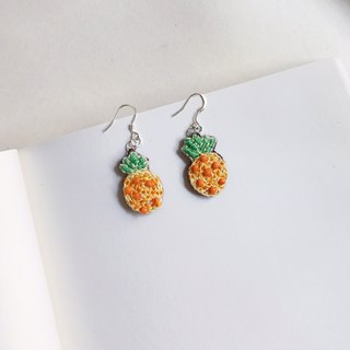Let's eat Pineapple embroidery earring
