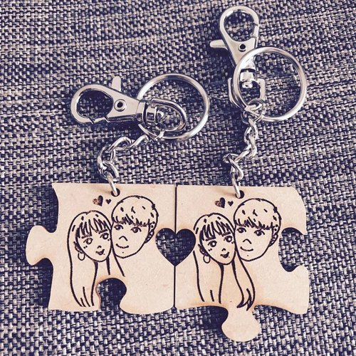 Puzzle Love Wooden Keychain - Customized - Name - Exchange Gifts - Wedding Gifts - Customized - Birthday Gifts - Valentine's Day - Good Friends - Anniversary - Christmas Gifts - Valentine's Gift - Double models into both sides of the double letteri