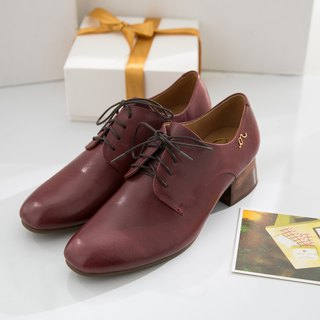 Hera - Burgundy - Handmade Leather Derby Shoes
