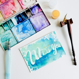 Custom-made water brush lettering original copy postcard for friendship / love
