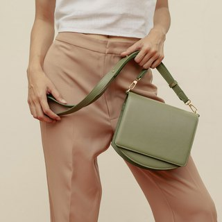 "''70s modern"" leather shoulder bag - Military green"