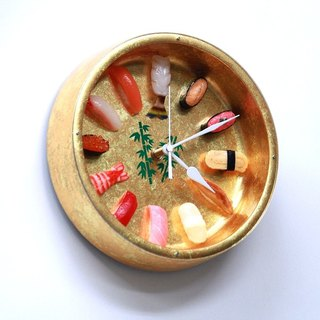 Golden sushi clock / Imitation food wall clock / made in Japan / RealGift /