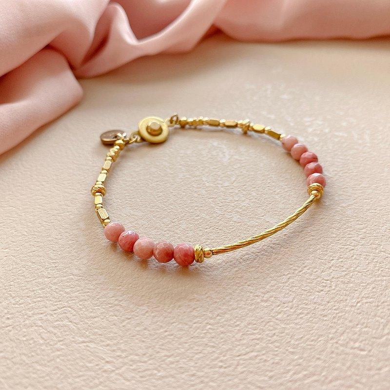 晨曦- 紅紋石 黃銅手環