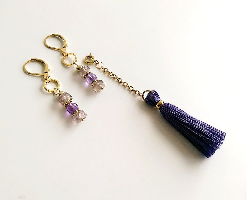 [Gemstone] Handmade Natural Stone Amethyst Brass (Detachable) Tassel • Earring (changeable clip type)