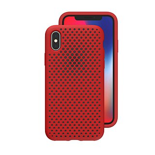 AndMesh-iPhone Xs Max dot soft crash protector - red (4571384959360