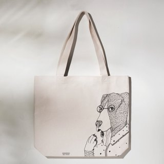 OKi-not a fake bag of fake kits Kii canvas bag / green bag / shopping bag / dog illustration