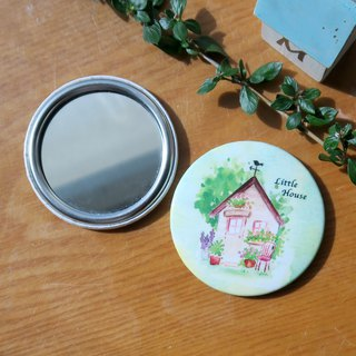 Carrying illustration small round mirror - hut