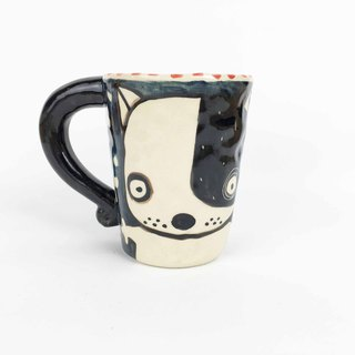 Nice Little Clay Mug Cute Dog Walking Dog 01061-05