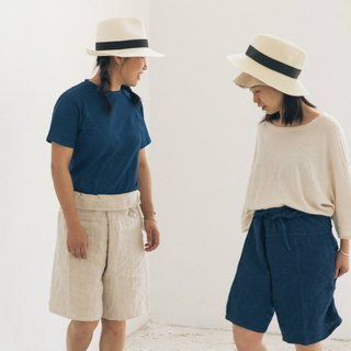 Retro style ancient plant blue dyed rain hemp tie five minutes shorts indigo blue linen spring and summer wide pants