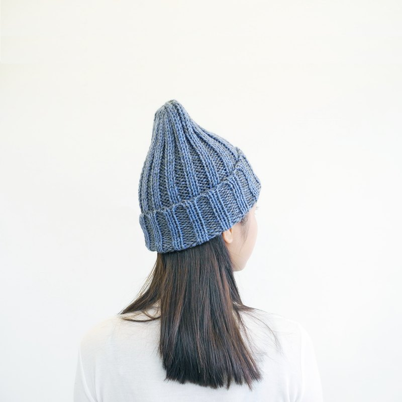 [Extreme touch] hand-knit wool hat - Peruvian alpaca - blue