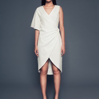 Rachel one-shoulder wrap dress in white