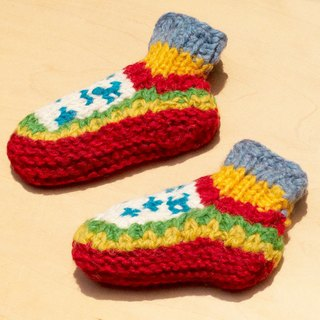 Births gift limit a knitted pure wool warm socks / wool socks child / children wool socks / stockings bristles / Knitting wool socks / children's indoor socks - fresh forest national totem