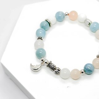 Night Moonlight Natural Stone Beaded Silver Bracelet │Blue White Series 玥unicorn 925 sterling silver sterling silver