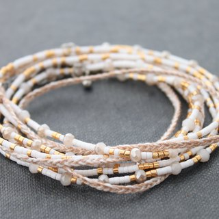 Beaded Wrap Bracelets Miyuki Seed Beads White Blush Pink Pastel Necklaces