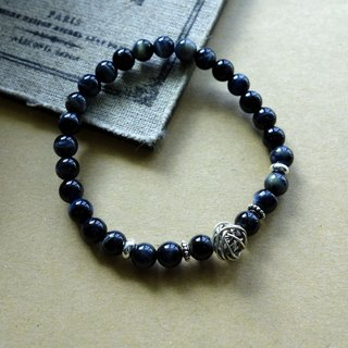 "~ M + Bear ~ ""courage stone"" black tiger eye natural stone silver bracelet 925 sterling silver / 925 silver bracelet"