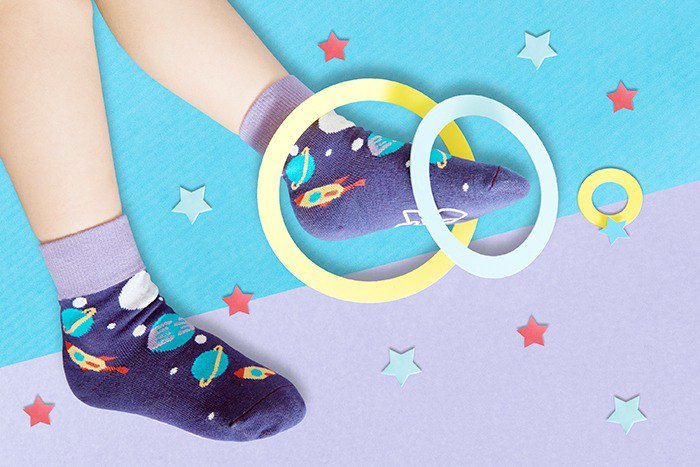 【快速出貨/免運】太空星球防滑4分之3童襪│質感禮盒包裝
