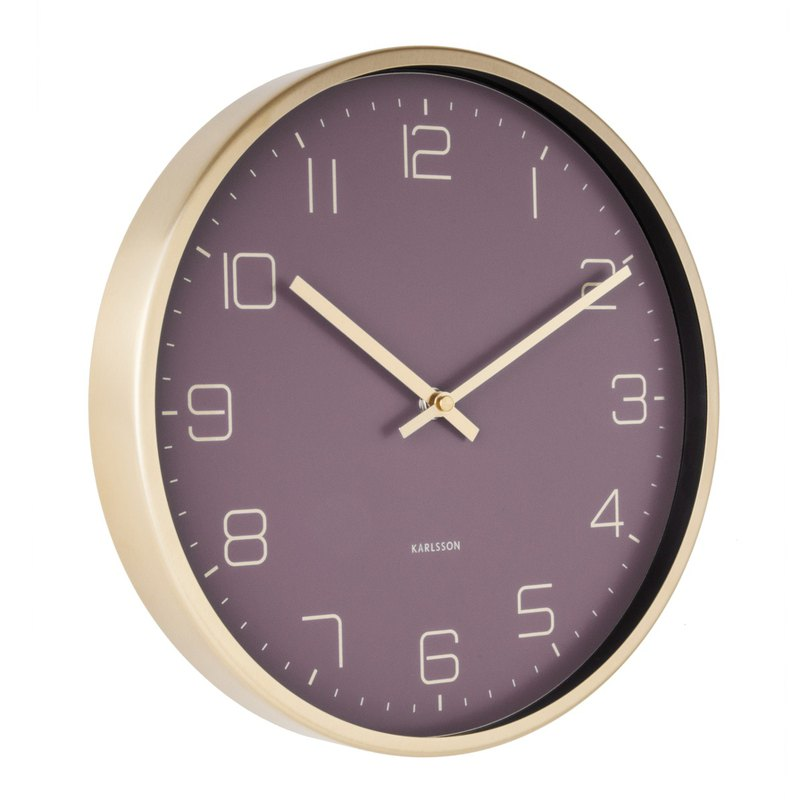 Karlsson Wall clock Gold Elegance purple