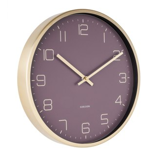 Karlsson 亮金框紫色掛鐘Wall clock Gold Elegance purple