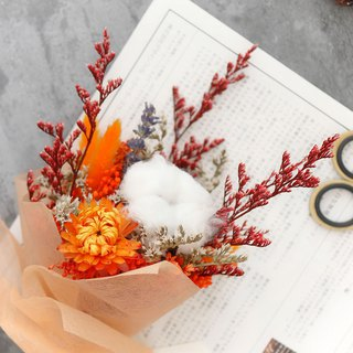 Orange light __ cotton rabbit sage dry bouquet (bride bouquet / birthday gift)