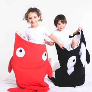 [Spanish] Shark bite a BabyBites cotton children's multi-function sleeping bag - happy red