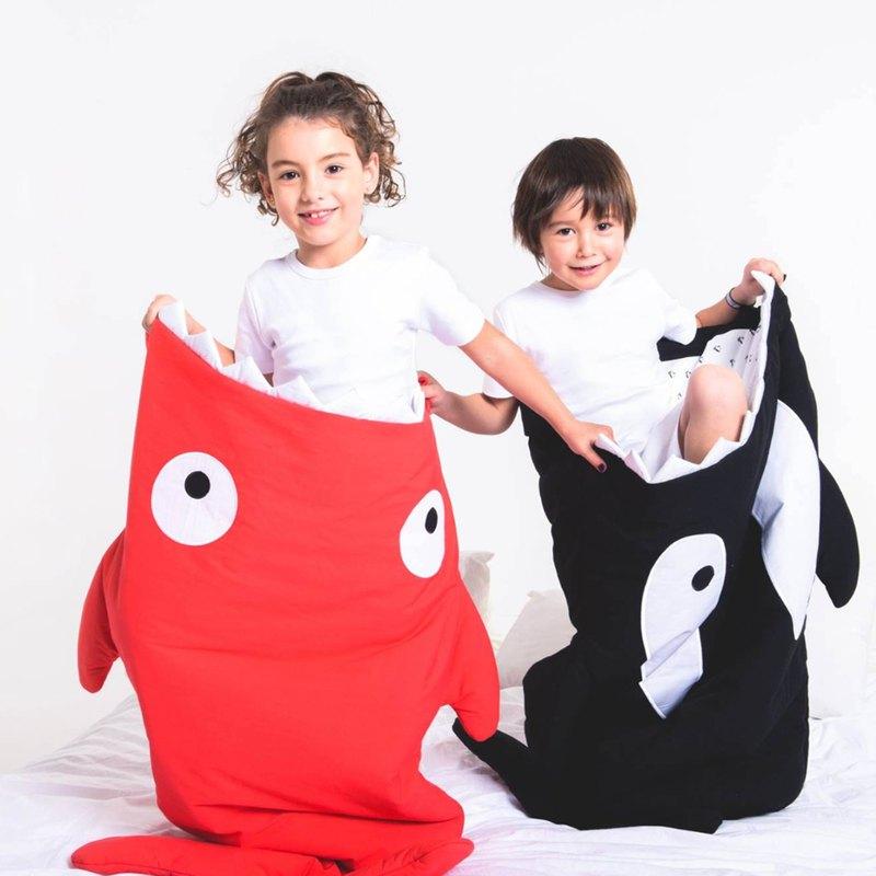 BabyBites鯊魚咬一口 純棉兒童多功能睡袋-喜氣紅